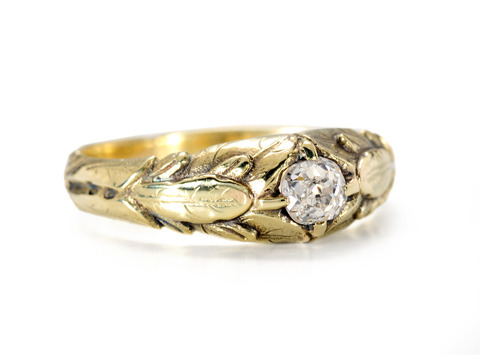 Russian Art Nouveau Pink Diamond Ring