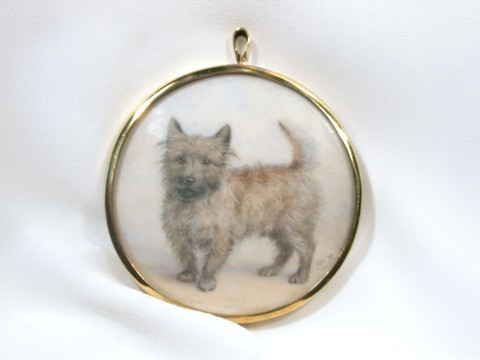 Antique Portrait Miniature on Ivory of a Dog