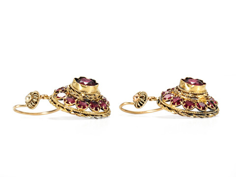 Terraced Tiers of Garnet & Gold Earrings