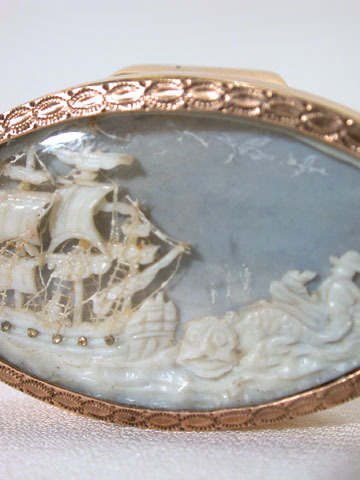 Exquisite Georgian Carved Ivory Seascape Ring