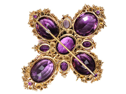 Amethyst Depths -  Georgian Cannetille Brooch