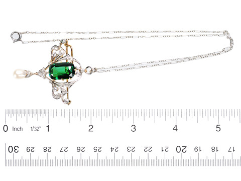 Diamond & Tourmaline Pendant Necklace c. 1920