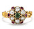 Antique Pearl Ruby Emerald Cluster Ring