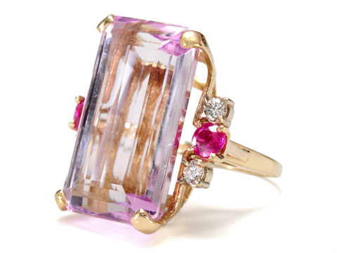 Magnificent 27.3 ct Kunzite Ruby Diamond Ring