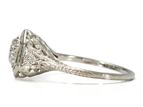 20th C. Lace: Diamond Cluster Engagement Ring
