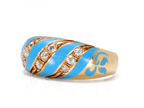 French Blue Enamel & Diamond Antique Ring