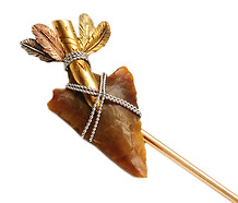Scarce & Exquisite Art Deco Arrowhead Stick Pin