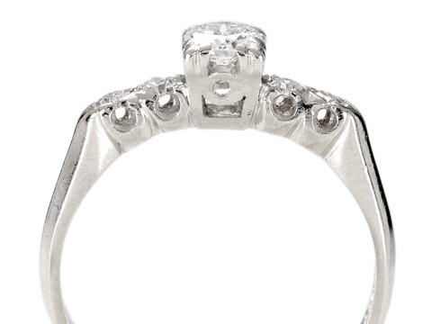 Radiant Retro: Diamond Platinum Ring