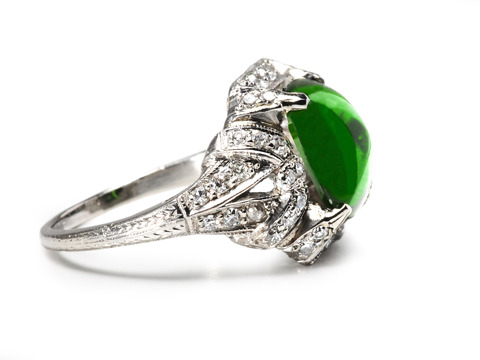 Bliss: Art Deco Tourmaline Diamond Ring