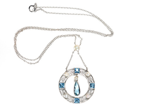 Aquamarine & Pearl Pendant Necklace