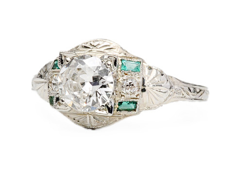 Dream No More: Art Deco Diamond Emerald Ring