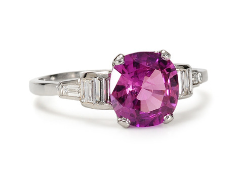 Hot Nights: Pink Sapphire & Diamond Platinum Ring