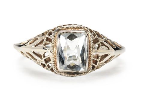 Art Deco Swoon: Pale Blue Aquamarine Ring