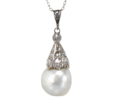 Natural Pearl Diamond Drop Pendant