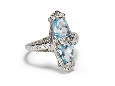 Double Pleasure: 1930 Aquamarine Diamond Ring