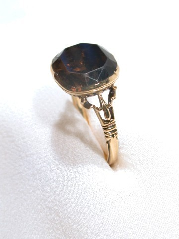 Rich Cognac Smoky Quartz 18th Century Ring