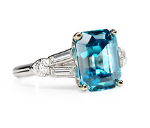 Finger Bling: 4.25 ct Blue Zircon  Diamond Ring