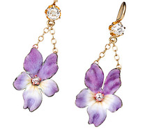 Antique Flowers in a Diamond Enamel Earring
