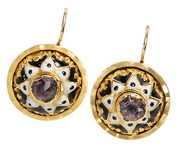 18th C.  Amethyst & Enamel Button Earrings