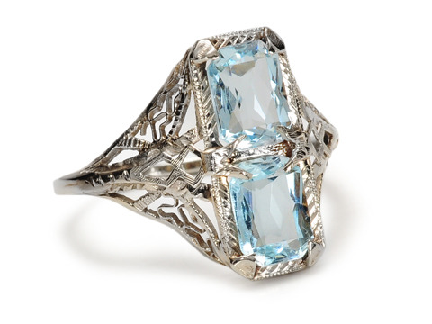 Butterflies & Hearts: Double Aquamarine Ring