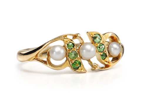 Antique Demantoid & Pearl Ring