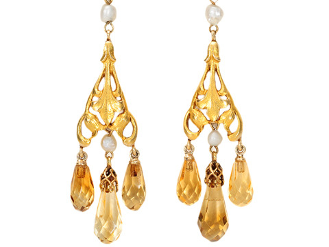Art Nouveau Gold in a Citrine & Pearl Earring