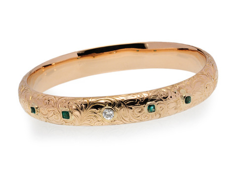 Riker Bros. Emerald & Diamond Bangle Bracelet