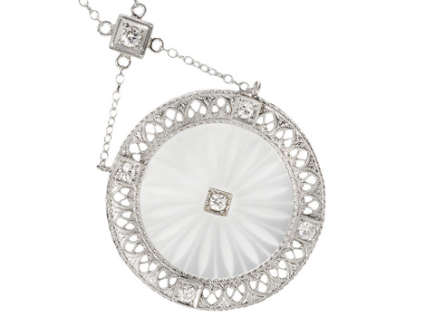 Art Deco Rock Crystal & Diamond Necklace