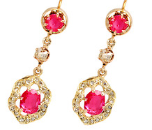 Antique Ruby & Diamond Drop Earrings