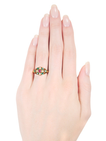 Romantic Victorian Pearl Emerald Ruby Ring