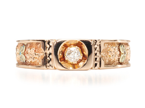 Flowers & Diamonds in a 19th C. Ring