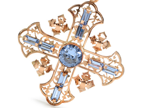 French Art Deco Cross Fleury Pendant