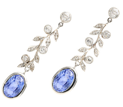 Classic Edwardian Ceylon Sapphire Diamond Earrings
