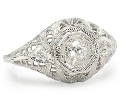 Art Deco Caress in a Diamond Filigree Ring