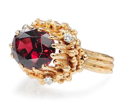 Swedish Modernist Garnet Diamond Ring