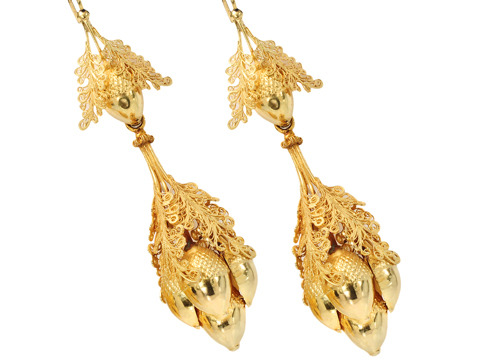 Georgian Fecundity - Gold Acorn Earrings