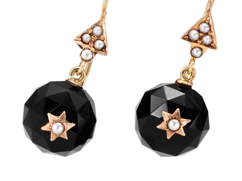 Midnight Stars: Victorian Onyx Pearl Earrings