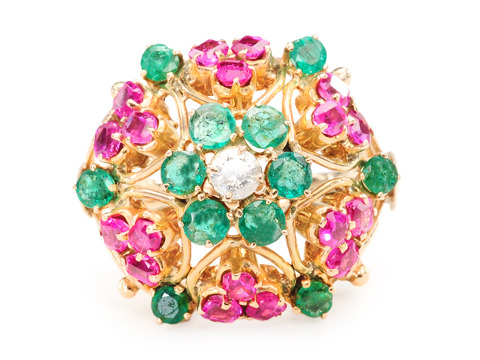 Op Art 1960s Ruby Emerald Diamond Ring