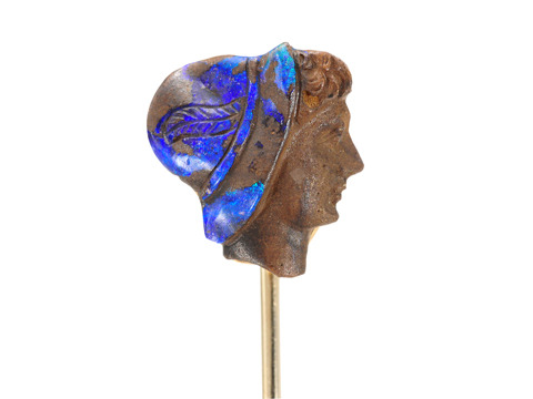 Antique Carved Opal Stick Pin