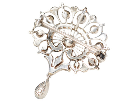 Exquisite Antique Swedish Silver Paste Brooch