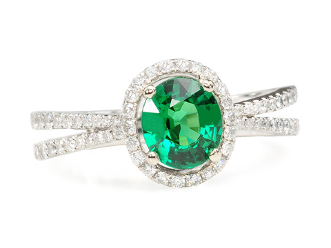 Fabulous 1.18 ct Tsavorite & Diamond Ring