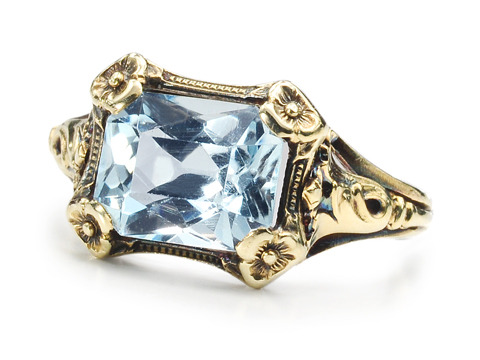 Art Nouveau Aquamarine Ring