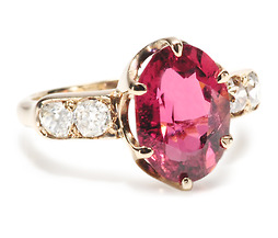Luscious Antique Tourmaline & Diamond Ring