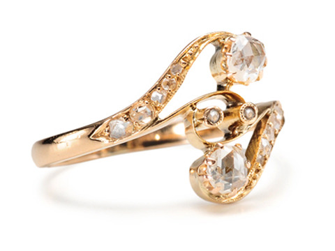 Art Nouveau Crossover Diamond Ring