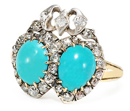 Victorian Hearts: Turquoise Diamond Ring
