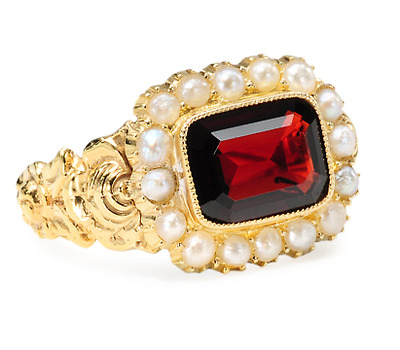 Antique Garnet & Pearl Cluster Ring