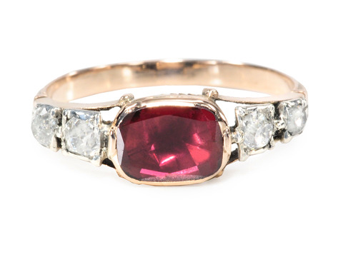Mid 18th C. Georgian Garnet & Diamond Ring