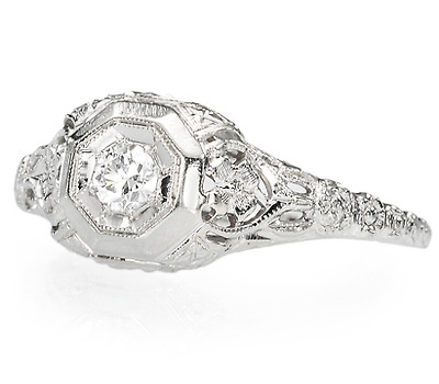 Art Deco Diamond Filigree Ring