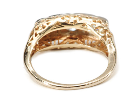 Edwardian Diamond Two Tone Gold Ring