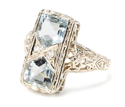 Fancy Double Aquamarine Ring